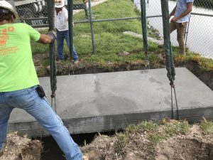 Placing concrete slab into location