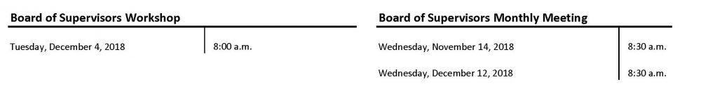 2018 Remaining Board Meeting Schedule