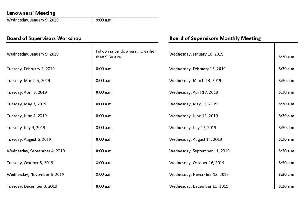 Snap shop of Board Schedule for 2019