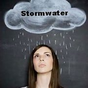 Graphic of Women with Cloud above her head and word 'stormwater'